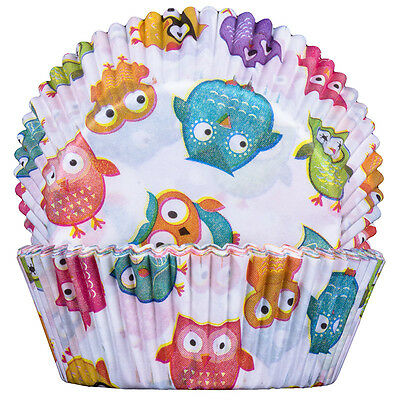 Owls Cupcake Cases 50x25mm x60 Baking Cups Muffin