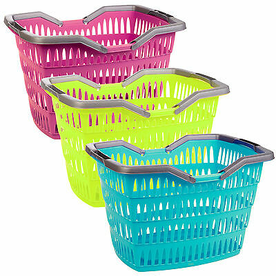 Large 30 Litre Laundry Basket With Folding Handles Storage Washing Bin Plastic