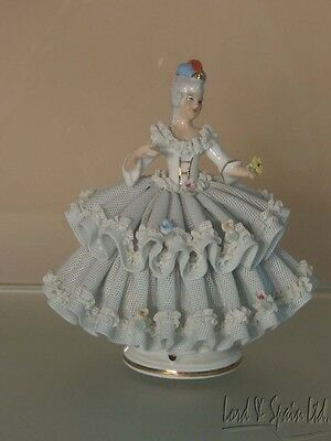 """Pretty Dresden Lace 5 1/4"""" Lady Figurine-D Under Crown-Germany"""