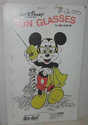 "1970's Mickey Mouse Sun Glasses Display Board for Store 21"" x 13.5"" WDP"
