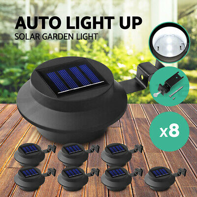 8X Solar Gutter Light Solar Fence Light Outdoor Garden Yard Wall Pathway Lamp