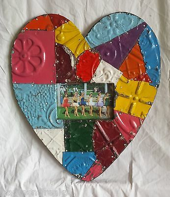 "4"" x 6"" Antique Ceiling Tin Heart *See Our Videos* Multi Color Patchwork"
