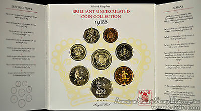 Great Britain 1986 KM#MS107 8 Coin Mint Set Original Case COA As Issued.