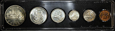 Canada 1963 silver KM#PL14 6 Coin (4 Silver) Prooflike Set Whitman Holder.