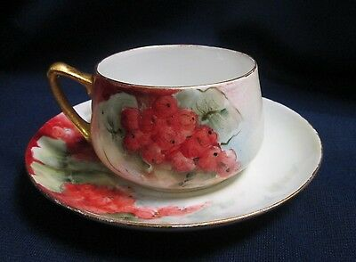 Vintage Eagle China Hand Painted Red Berries Grapes Porcelain Tea Cup & Saucer