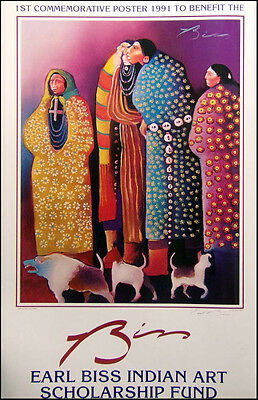 """Earl Biss """"Jeering The Dog Eaters"""" HAND SIGNED  poster indian Make an Offer!!!"""