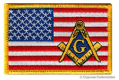 MASONIC LOGO US FLAG EMBROIDERED PATCH iron-on FREEMASON SQUARE COMPASS MASON