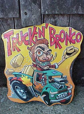 Ed Roth Style Tin Metal Monster Hot Rod Pick-up Truck Cowboy Sign ManCave