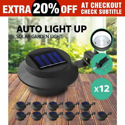 12X Solar Gutter Light Solar Fence Light Outdoor Garden Yard Wall Pathway Lamp