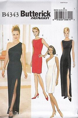 Butterick Sewing Pattern Misses' Close Fitting Lined Dress Size 6 -18 B4343