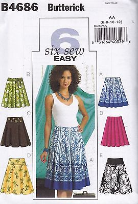 Butterick Easy Sewing Pattern Misses' Below mid-knee skirts  6 - 20 B4686