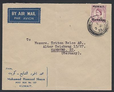 1956 Kuwait cover to Germany, franked with QEII 6a, clean cds [ca396]
