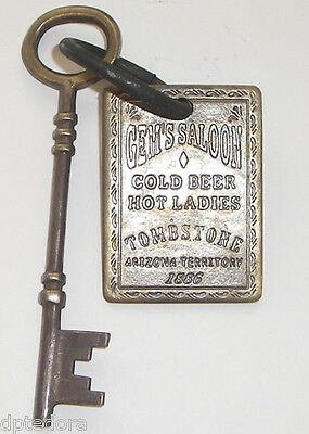 Gem's Saloon Solid Brass Brothel Room Key With Tag