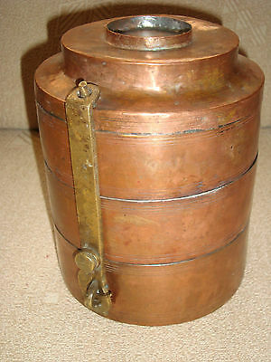 Greece antique 19th c. copper stacking food lunch canisters with brass retainers