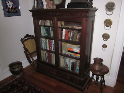 *Victorian 2 Door Bookcase [non-original glass], walnut with aged patina