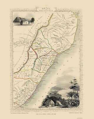 Old Africa Map - Natal and Kaffraria, South Africa - Tallis 1851 - 23 x 28.83