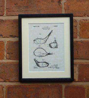 """USA Patent Drawing Vintage GOLF CLUB Mounted Matted PRINT art 10"""" x 8"""" 1925 Gift"""
