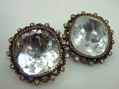 WOWZA FAB Vintage 1950s 10 Carat Open Back Crystal Patented Earrings 568A4