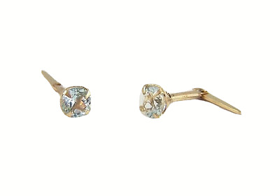 9ct Gold Andralok  3.5mm Small Round Aqua Blue Topaz Studs Earrings B'day GIFT N