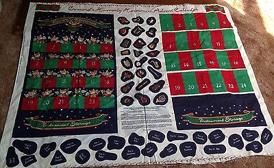 Vintage Fabric With Pattern & Instructions For Christmas Advent Calendar