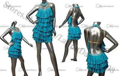 Latin  Salsa  Competition Dance Dress With High Quality Stones  M259