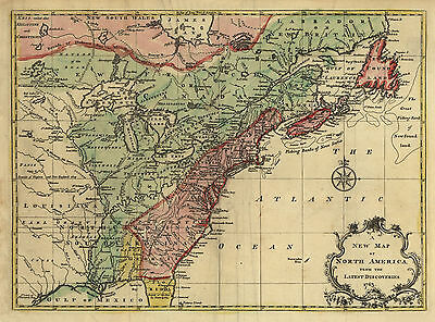 "1763 AMERICA, CANADA Map, 16""x12"" Print, United States, Antique, Discoveries"