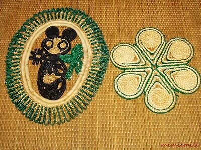Vintage Colorful Straw Trivets Lot of 2 Green Asian Panda Hot Pads Wall Hanging