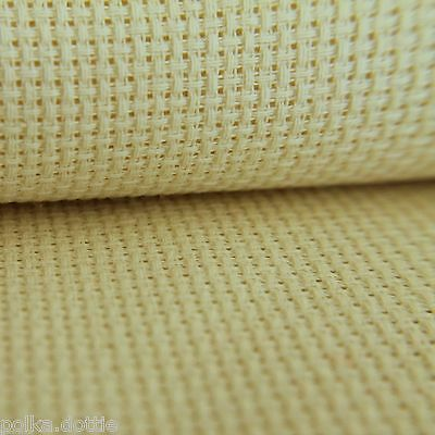 14 Count Aida  Antique Cream 100% Cotton  Various Sizes 10 cm to 100 cm Wide