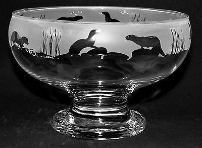 *OTTER GIFT*  Boxed FOOTED GLASS BOWL with OTTER FRIEZE