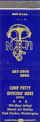 Chief Petty Officers' Mess Whidbey Island Naval Air Station Oak Harbor Matchbook
