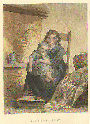 Children, Baby, The Little Nurse, Rustic Home, Vintage, 1857 Antique Art, Print,