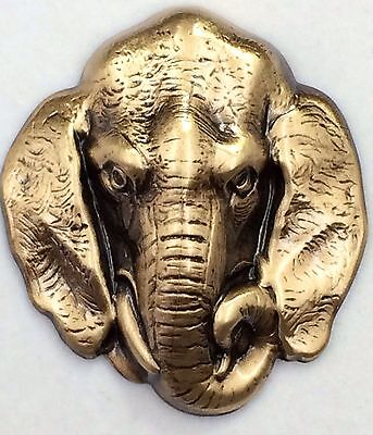 """Large Stamped Brass Antique Detailed Elephant Picture Button~2""""inch Button"""