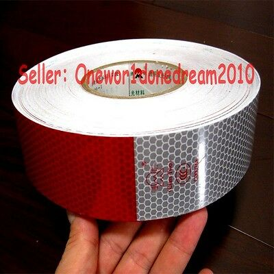 """Reflective Conspicuity Tape White Red 12M = 40 Feet CCC=DOT-C2 40 Pcs 2"""" Wide"""