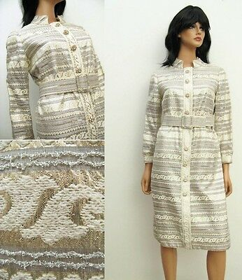 Vintage 60s 70s Silver Gold Rhinestone Glam Dress L Disco Costume Cocktail