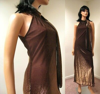 Vintage Long Metallic Copper Bronze Disco Dress XS S Sleeveless High Collar Glam