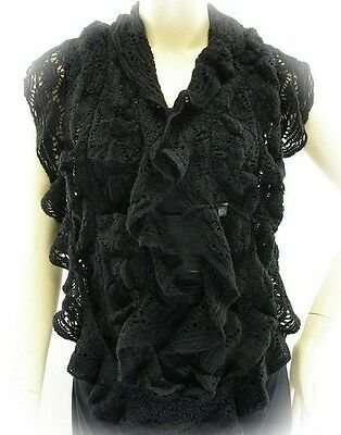 NEW! Sexy BLACK Infinity SCARF ~ RUFFLE Style ~ COLD WEATHER ~ ONE Size FITS All