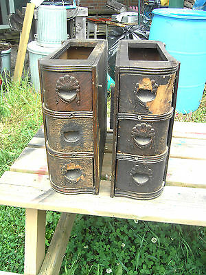 Antique 1890 Set Oak 3 High treadle sewing machine drawers as found need TLC