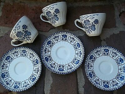 6 Lot Royal Staffordshire Blue & White Sampler Cups & Saucers J&G Meakin England
