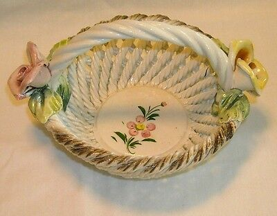 Capodimonte Woven Porcelain Basket Yellow & Pink Rose Crown N Made In Italy