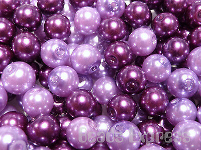 100pc 6mm Quality Glass Pearl Round Beads - Purple Mix (CR6027)