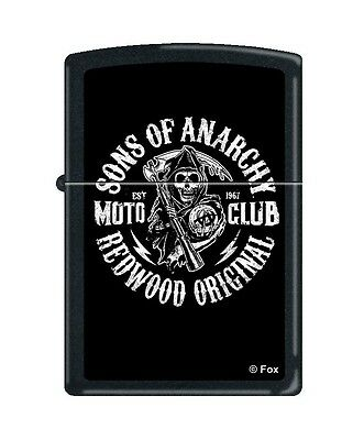 "Zippo ""Sons of Anarchy-Moto Club"" Black Matte Finish Lighter,  2940"