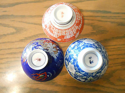 Oriental Soup Bowls Set of 3 Different Makers Free Shipping!
