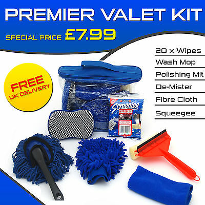 Car Cleaning Kit - Car Valeting Pack - includes Screen Wipes,  Squeegee etc