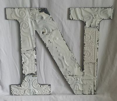 """Large Antique Tin Ceiling Wrapped 16"""" Letter 'N'' Patchwork Metal Chic White"""