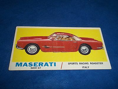 1961 Topps Sports Cars Trading Card Maserati 5000 GT Roadster #7 LL