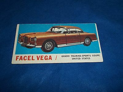 1961 Topps Sports Cars Trading Card Facel Vega Grand Touring Sports Coupe #44
