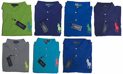 4eaf4207 Ralph Lauren Mens Solid Big Pony Blue Green Purple Grey Polo Shirt 3X 4X 5X  6X