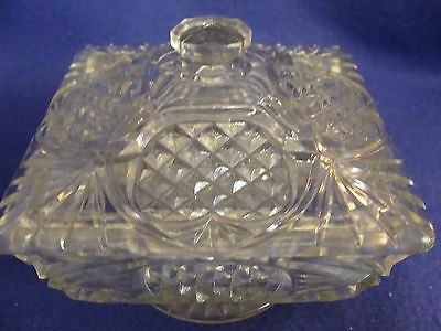 VINTAGE DEPRESSION CLEAR CUT GLASS HONEY BOWL W. LID-SQUARE-FOOTED-PINEAPPLE