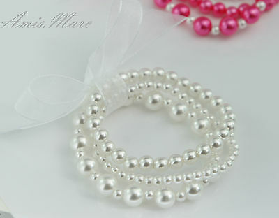 Little Kids/Wedding/Flower Girl SnowWhite Handmade Elastic Pearl Gift Bracelet