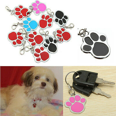 1X Puppy Pet Dog Cat Paw Foot Print Clip Buckle ID Name Collar Tag Keychain New